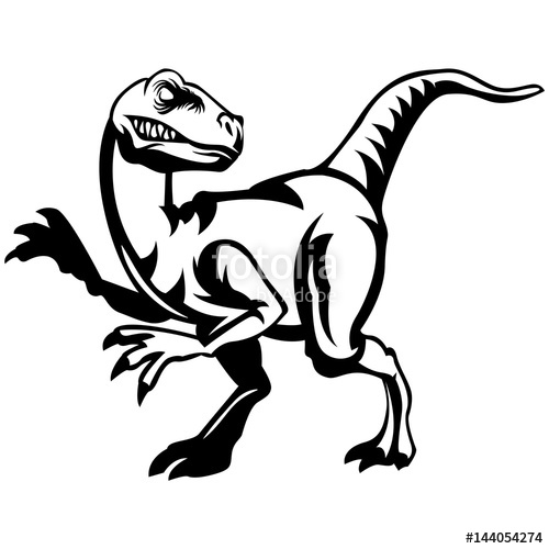scary raptor head clipart black and white\