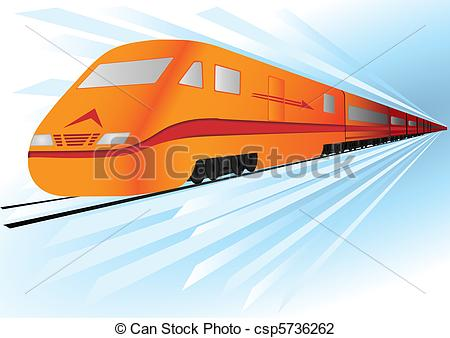Vector Illustration of Fast, high speed vector train.
