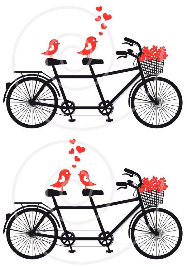 Love birds on bicycle, digital clip art, wedding invitation.