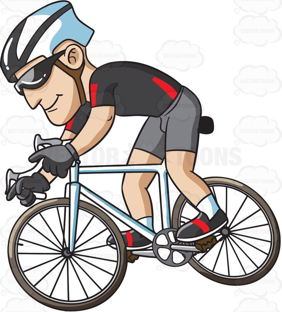 A man riding a bike for exercise #cartoon #clipart #vector.