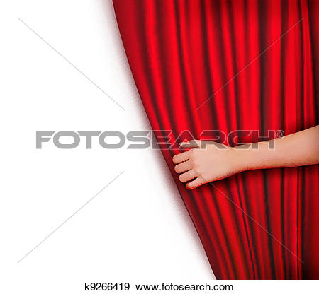 Clip Art of Background with red velvet curtain k9266419.