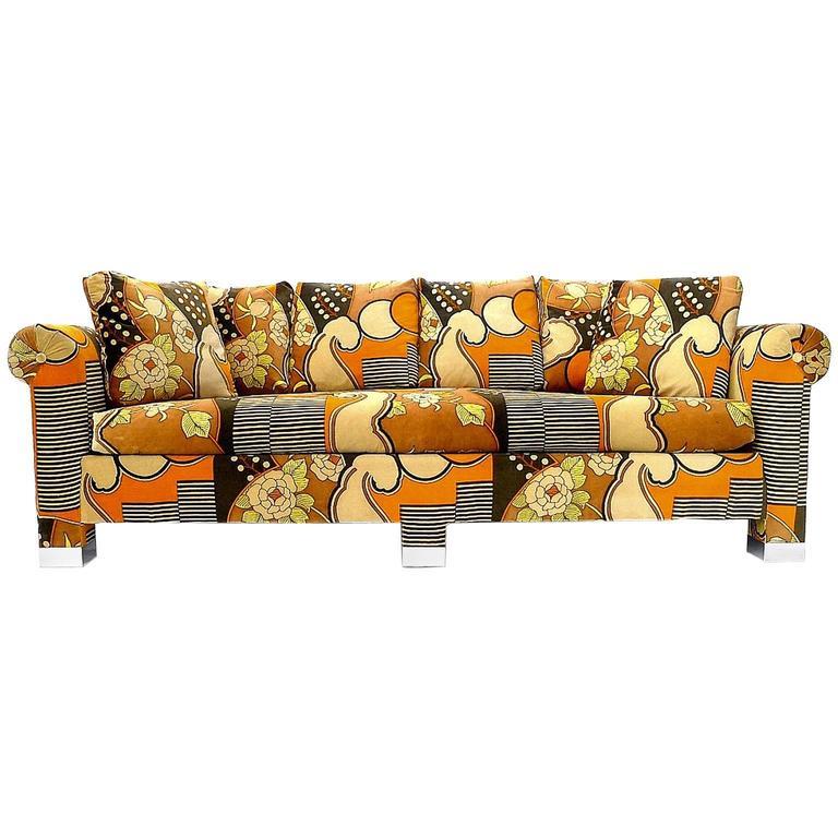 Custom 1970s Sofa with Chrome Feet and Larsen Velvet Upholster at.