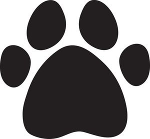 Paw Print Clipart Image: A black cartoon dog print.