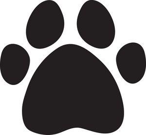 Paw Print Clipart Image: A black cartoon dog print.