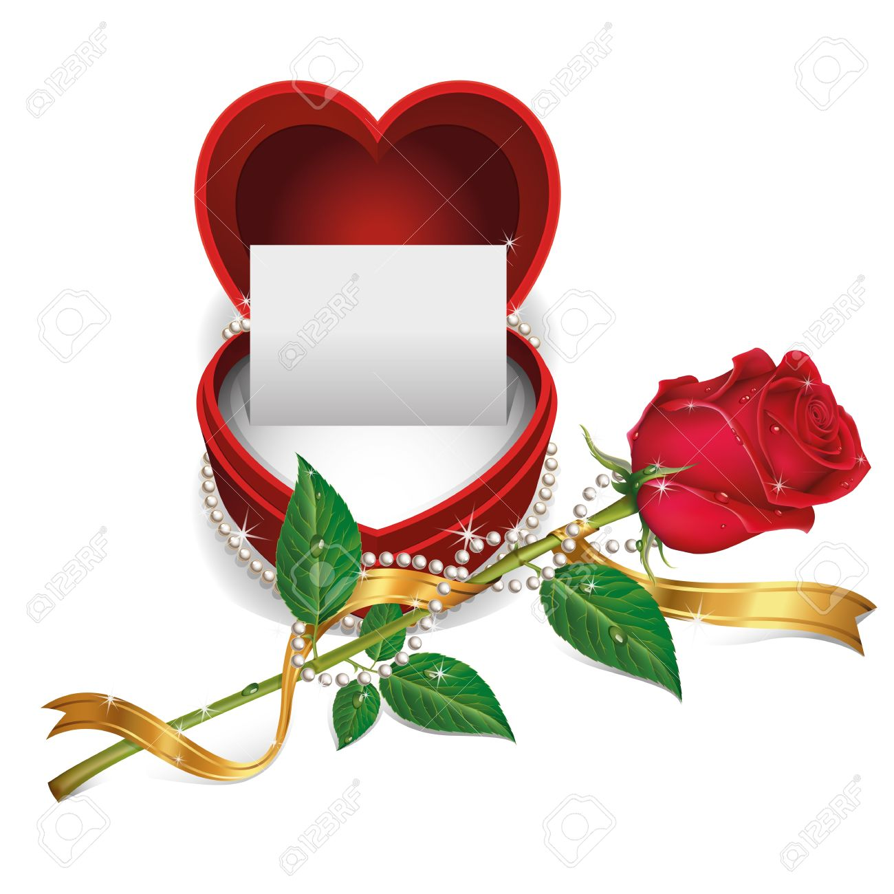 White Card In Red Velvet Box And Beautiful Roses With Pearl.