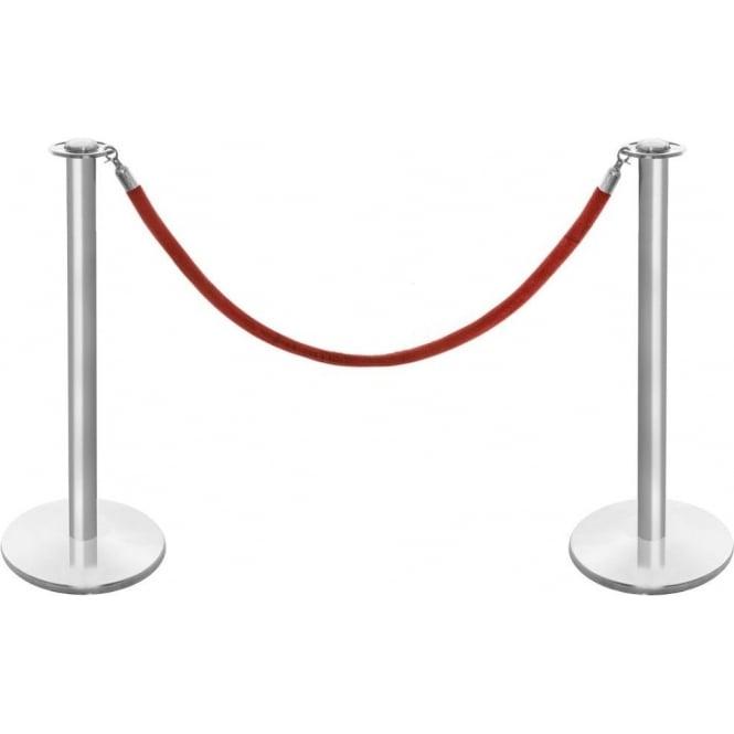 Classic Range Brushed Stainless Steel Barrier Posts & Red Velvet Rope Set.