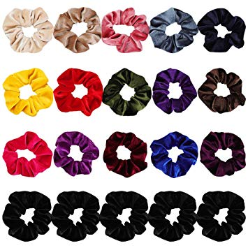 Velvet Scrunchies for Hair, 20Pcs Premium Velvet Hair Scrunchies Elastic  Hair Ties for Women and.