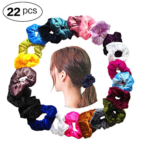 Bestland 22 Pcs Velvet Hair Scrunchies, Elastic Scrunchy Hair Ties No  Crease Ponytail Holder Ropes Hair Accessories for Women Girls, 20 Colors.