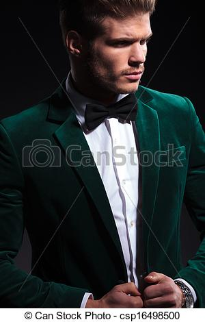 Stock Photography of side view of a fashion model in green velvet.