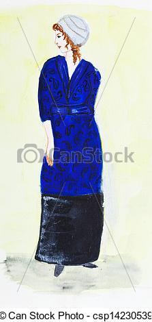 Stock Photos of lady in dark blue velvet suit 1911 year.