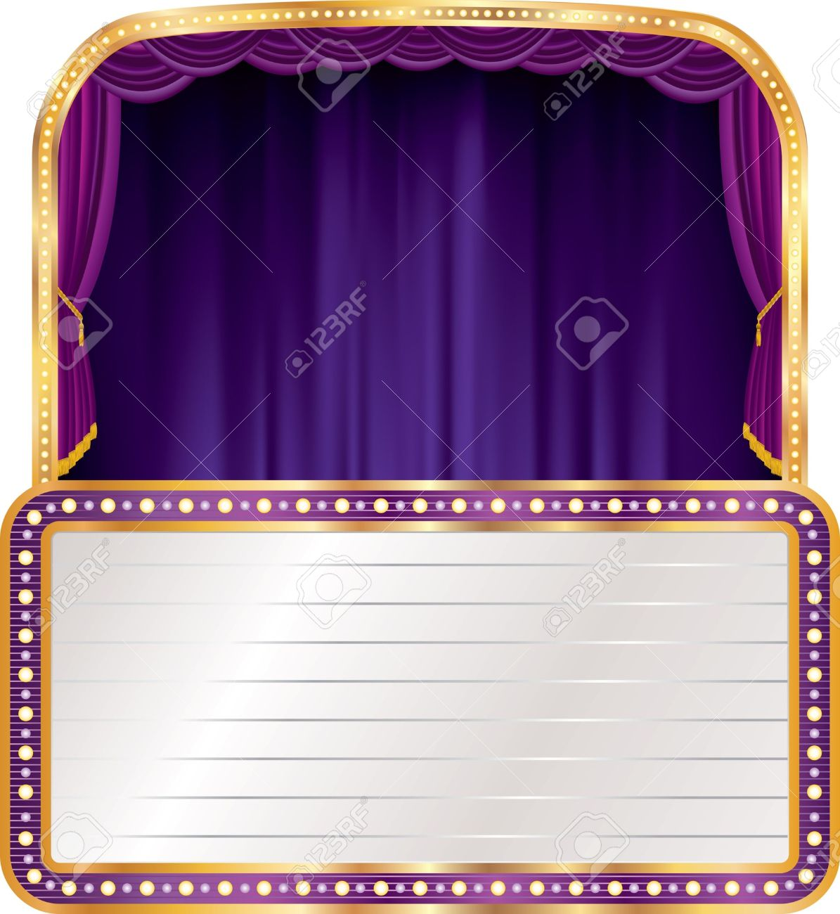 Vector Purple Velvet Stage With Blank Billboard Royalty Free.