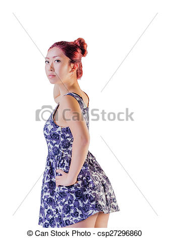 Stock Image of Asian Female With Velvet Hair Color.