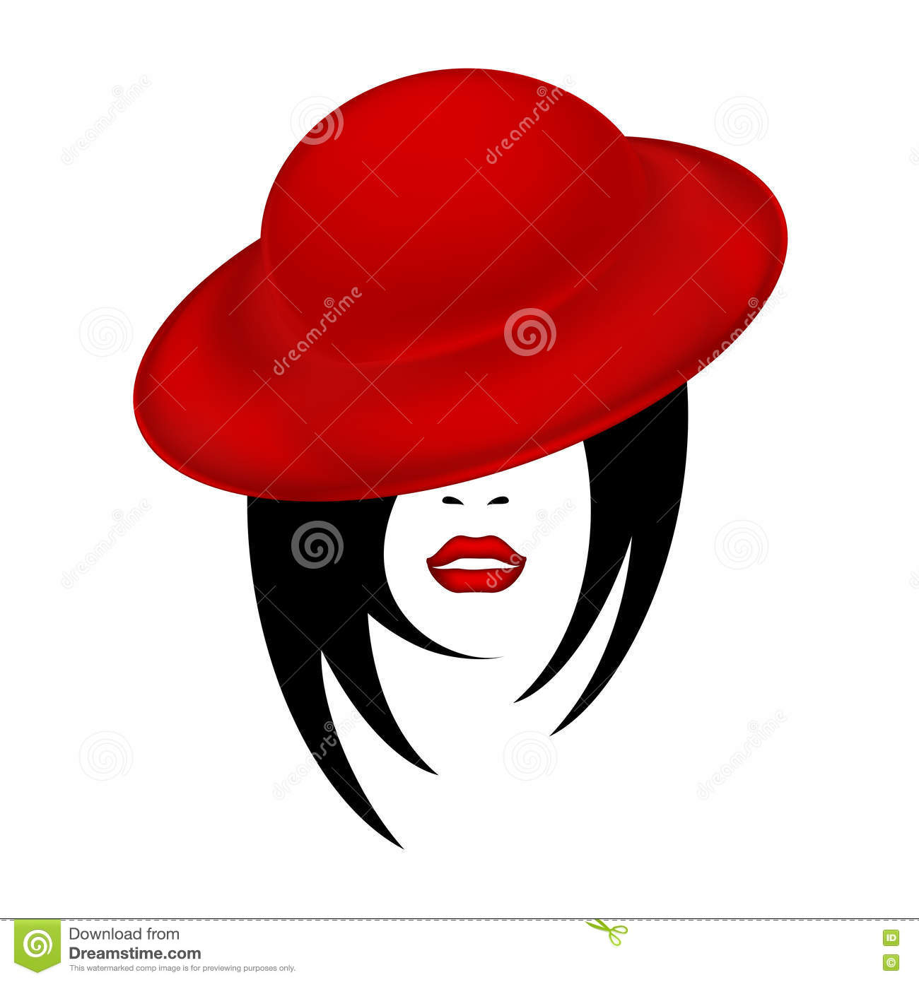 The Face Of A Beautiful Woman In A Red Velvet Hat Female Sketch.