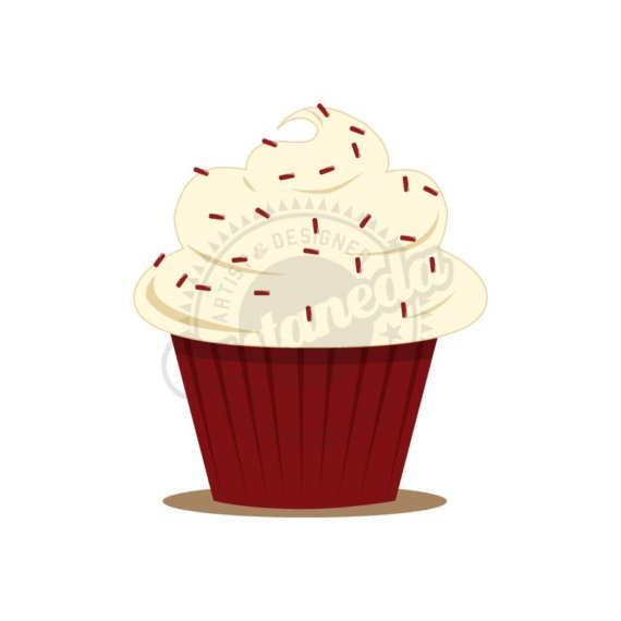Red velvet cupcake clipart.