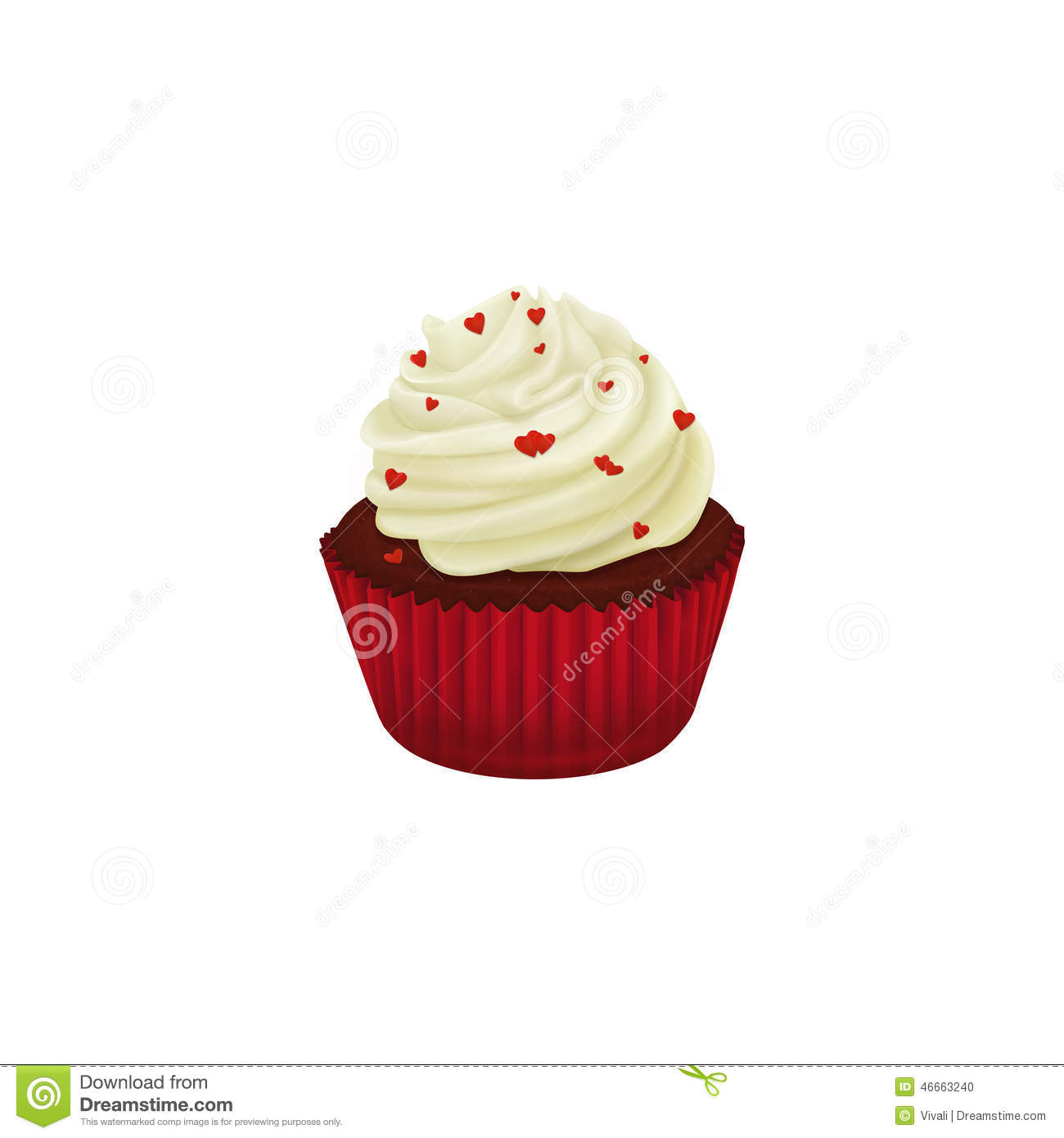 Red Velvet Cupcake Decorated With Red Hearts Stock Illustration.