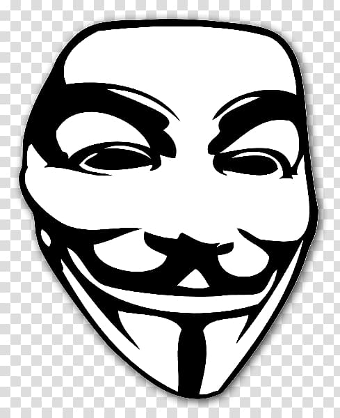 Guy Fawkes mask Sticker V for Vendetta , mask transparent.
