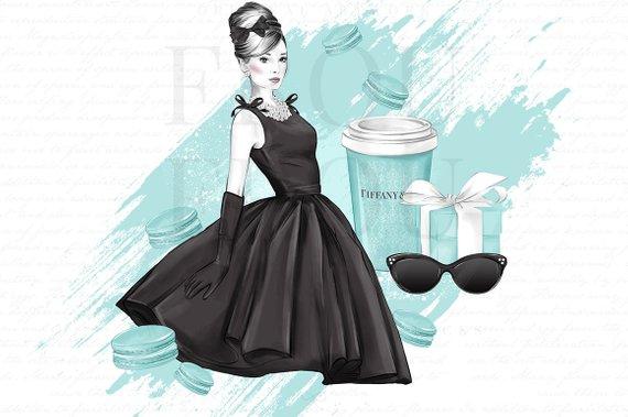 Breakfast at Tiffany Clipart Mint Fashion Illustration.