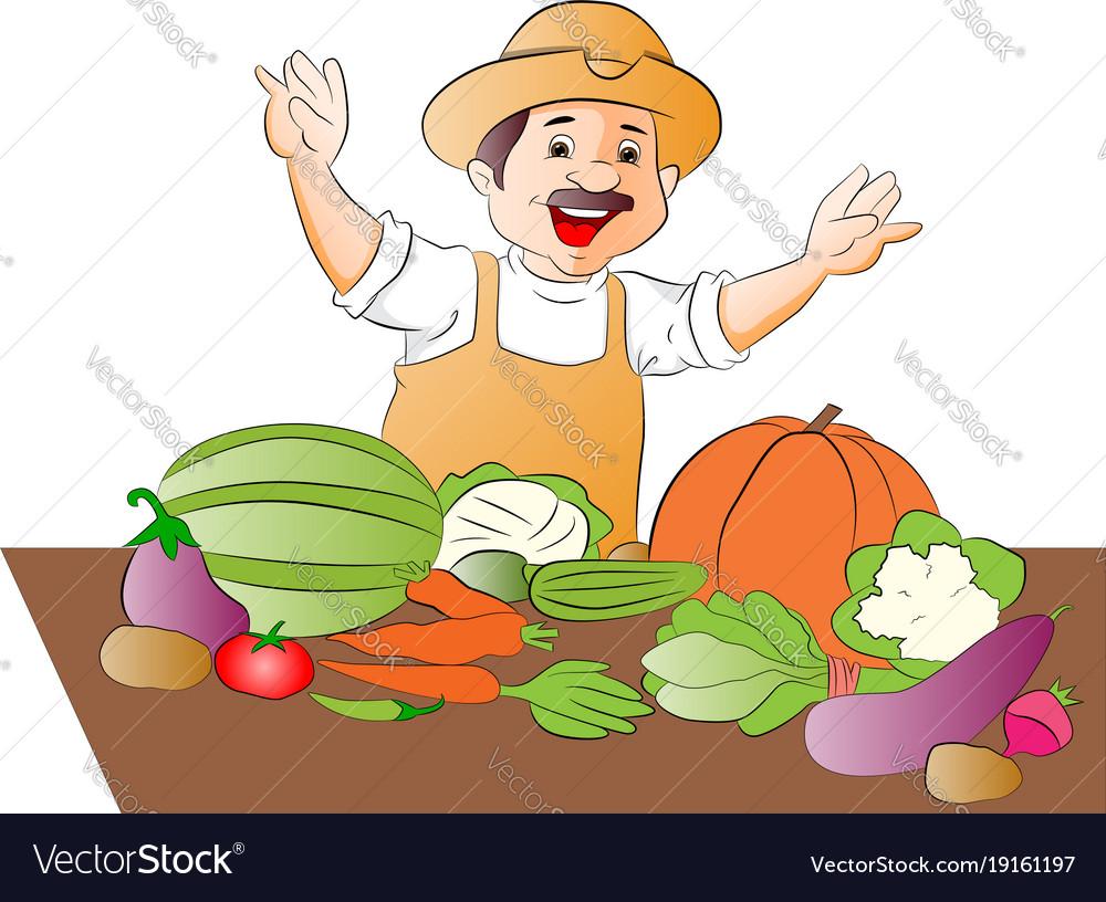 Happy vegetable seller.