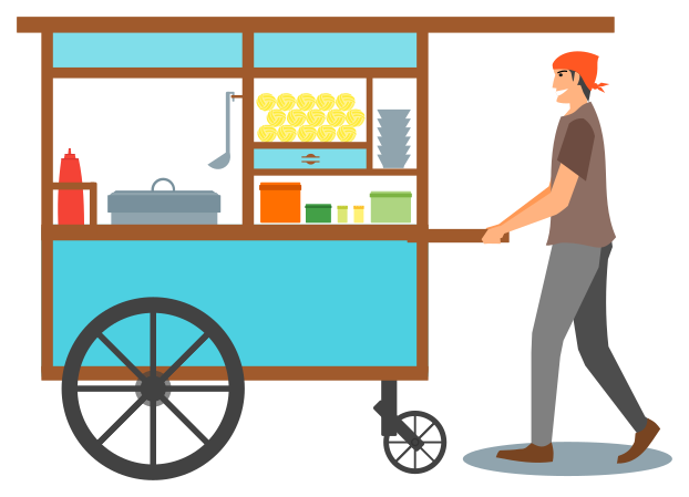vendor push cart.