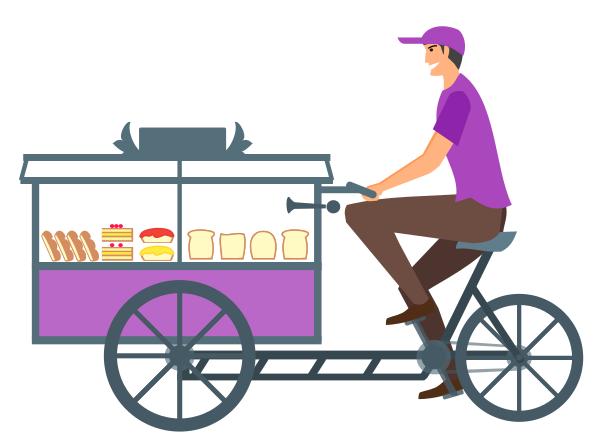 vendor bicycle cart.