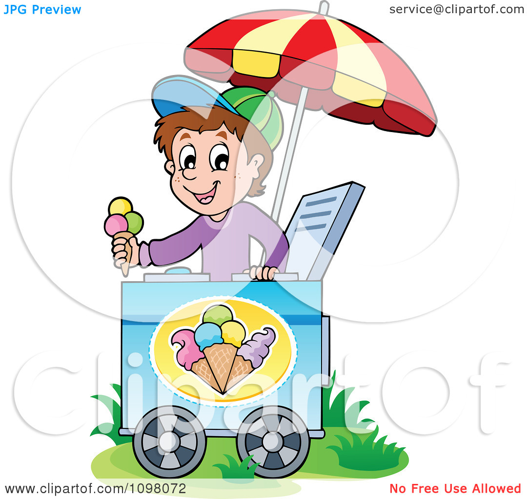 Clipart Happy Ice Cream Vendor Boy Holding Out A Cone.