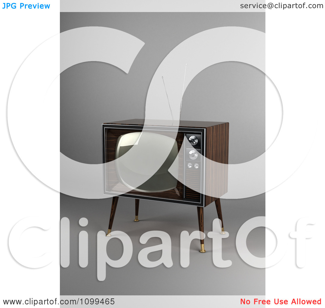 Clipart 3d Retro Box Television With Wood Veneer On Gray.