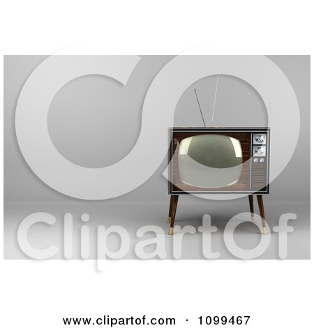 Clipart 3d Retro Box Television With Wood Veneer On White.