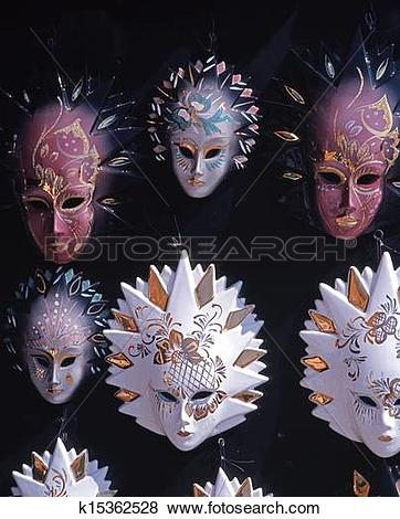 Pictures of Venetian glass masks, Venice. k15362528.