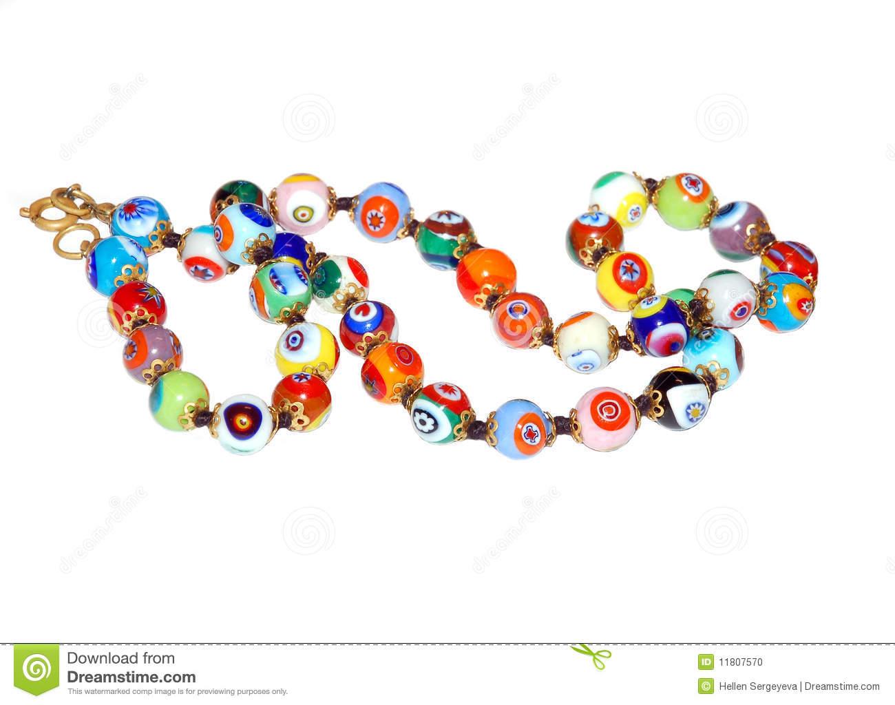 Venetian Glass Beads Stock Photo.