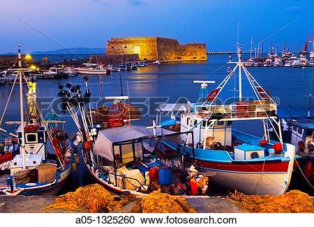 Stock Photography of Cretan boat moored Heraklion harbour and.
