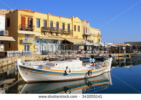 Lighthouse Rethymno Venetian Boats Stock Images, Royalty.