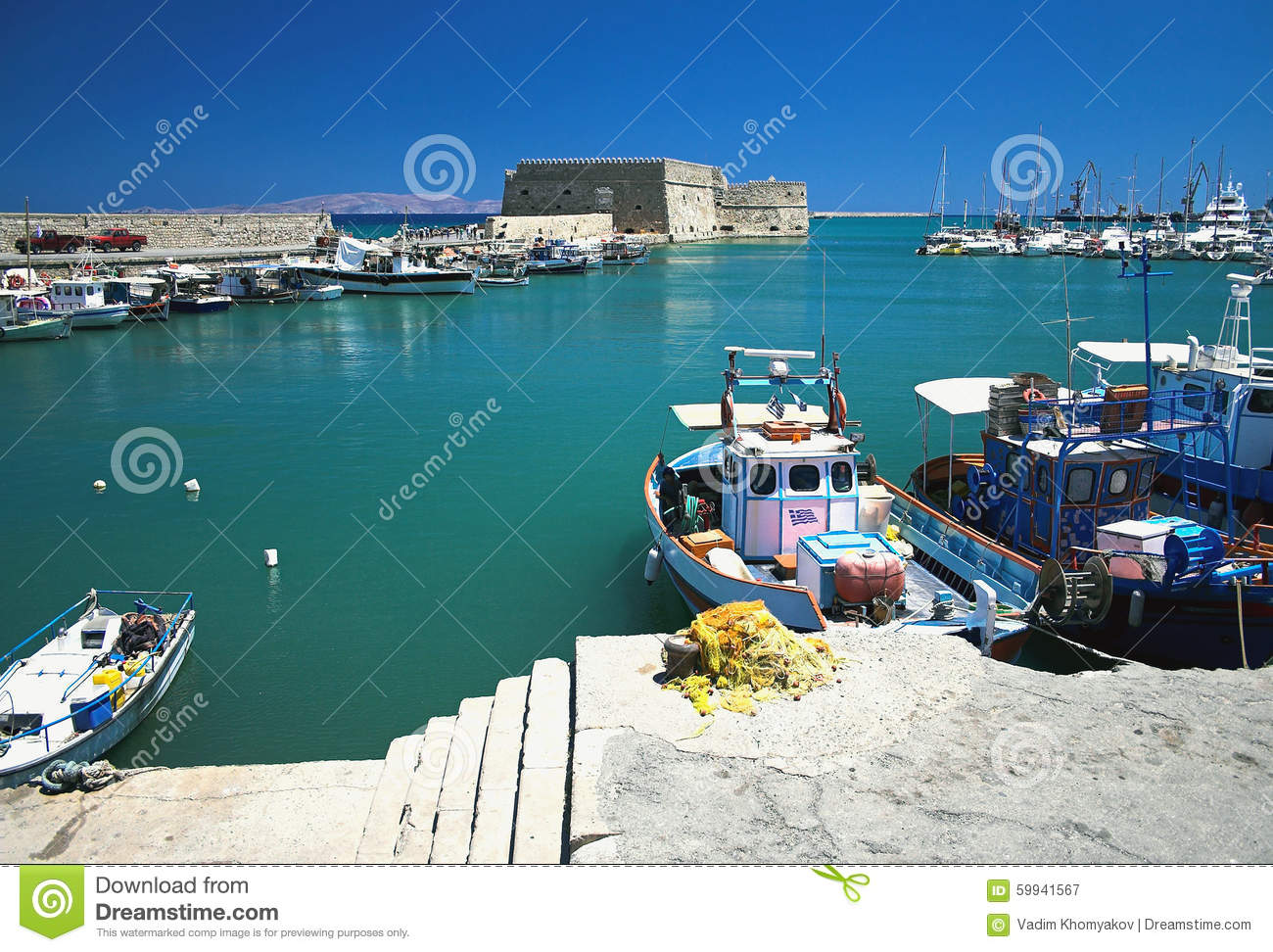 Venetian Port And Castro Fortress.Iraklion, Greece Stock Photo.
