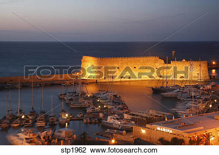 Stock Photo of Iraklion (Heraklion) harbour and illuminated.