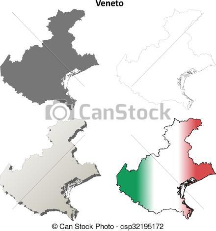 Vectors Illustration of Veneto blank detailed outline map set.