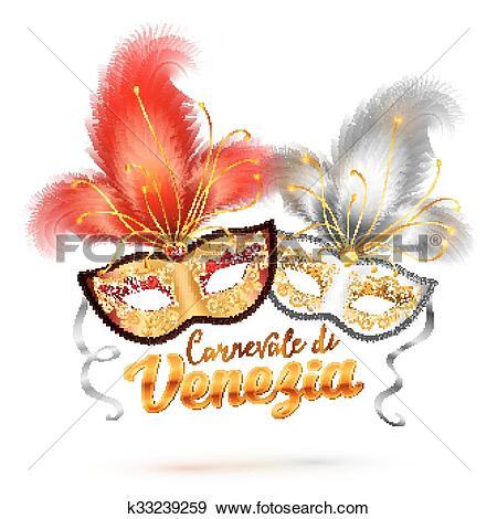 Clip Art of Carnevale di Venezia sign and two bright carnival.