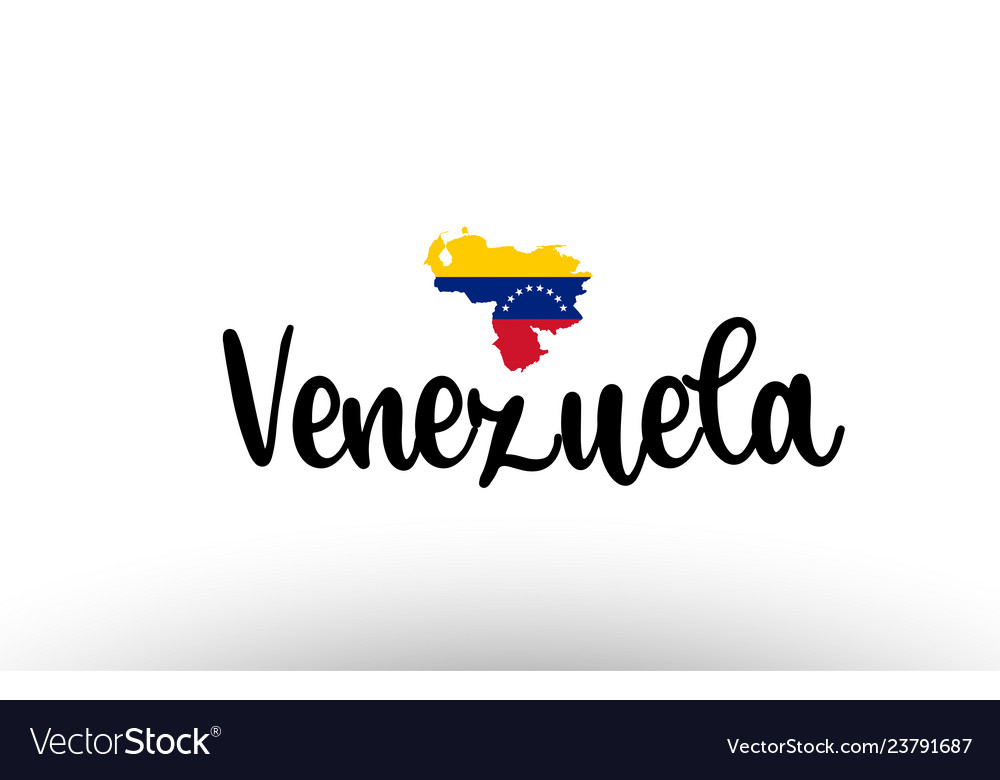 Venezuela country big text with flag inside map.