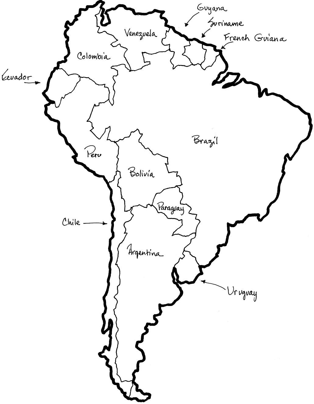 map of central and south america coloring sheet.