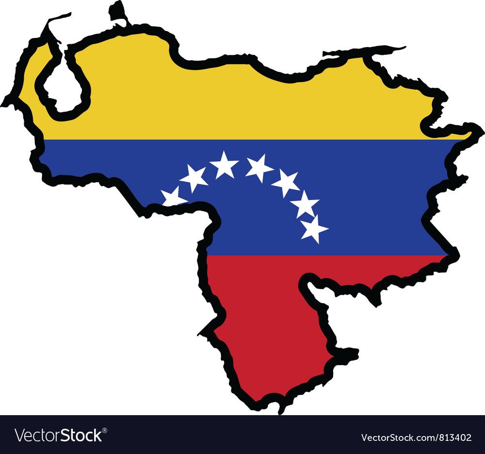 Map in colors of Venezuela.