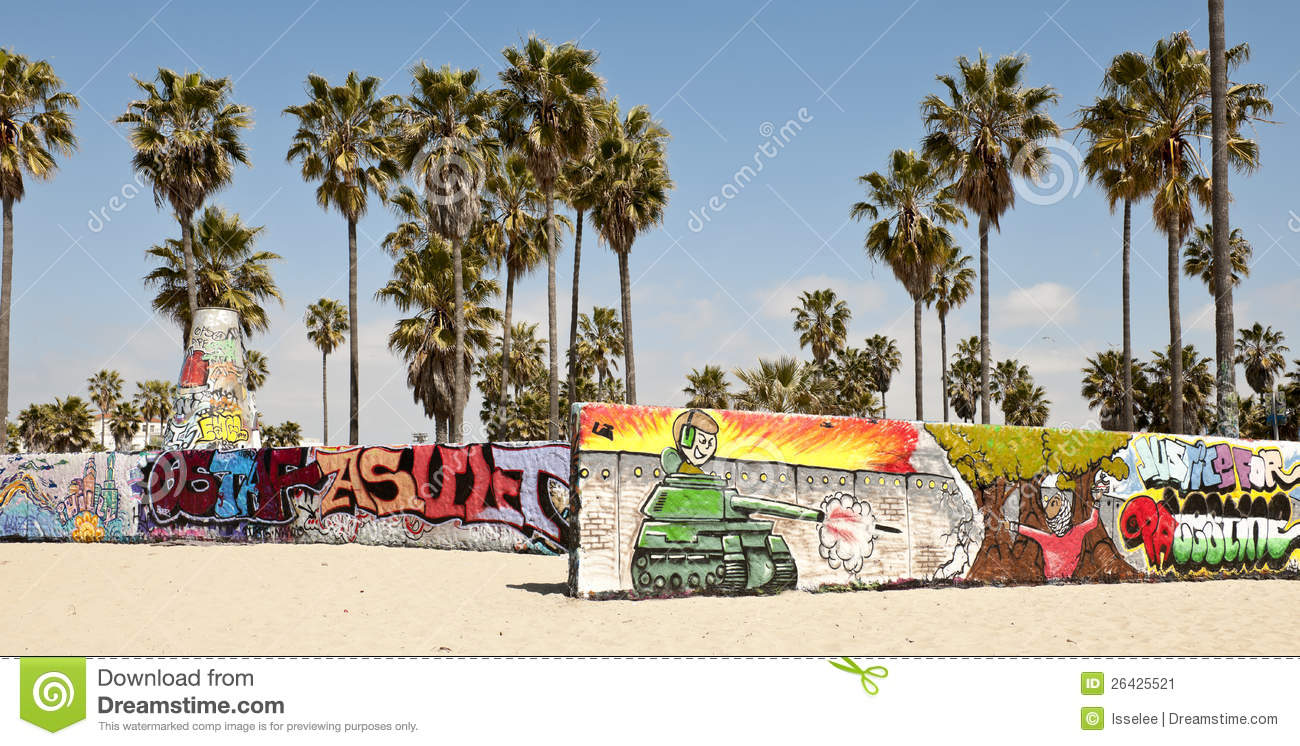 Art Walls On Venice Beach, Los Angeles Stock Image.