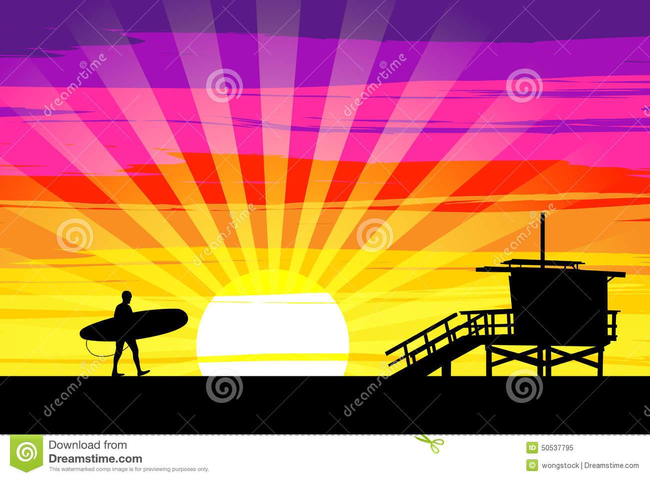 Sunset On Venice Beach, Los Angeles, California. EPS10 Vector.