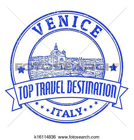 Clip Art of Venice, Italy stamp k16114836.