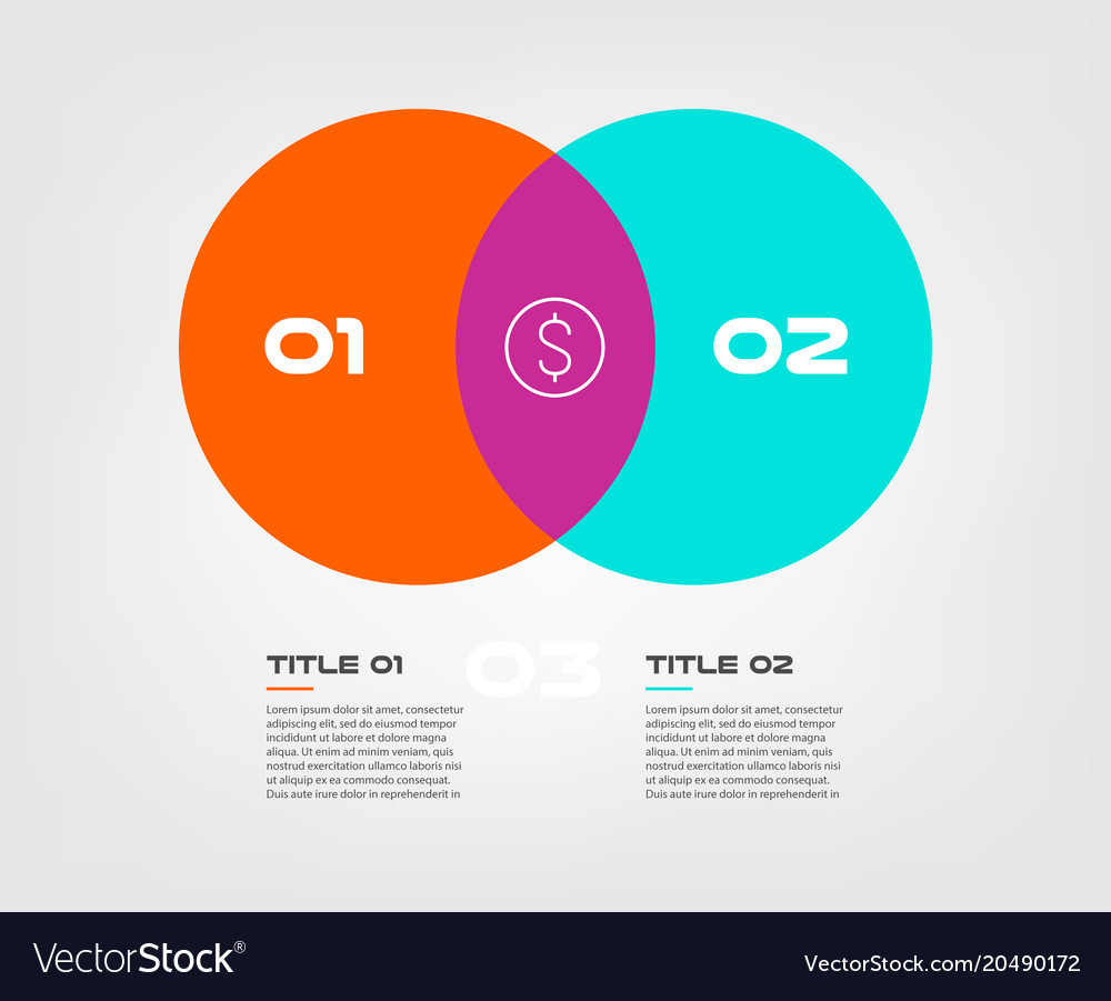Venn diagram infographics for two circle design.