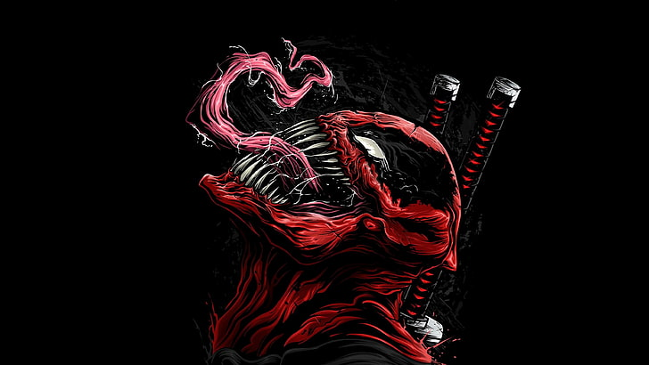 HD wallpaper: Venom, artwork, Deadpool, black background.