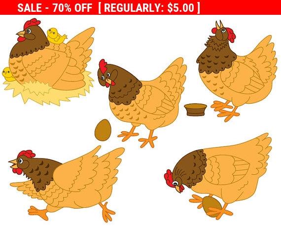 70% de DESCUENTO VENTA pollo Clipart Vector Digital por TanitaArt.