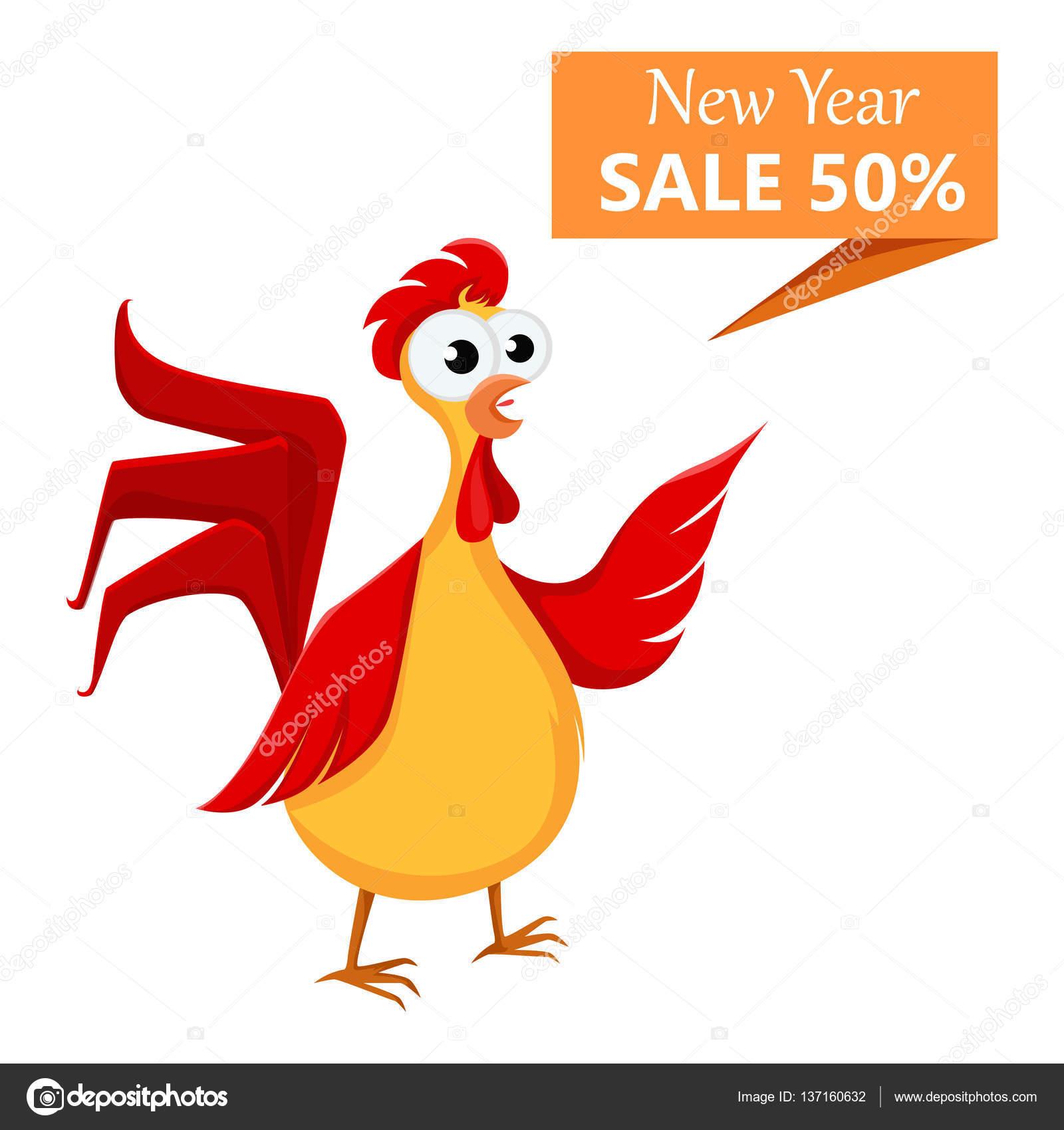 Gallo loco dibujos animados rojo mostrando un cartel de venta de.