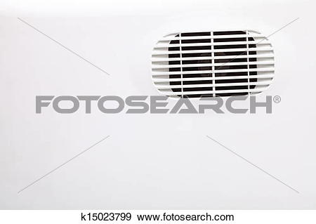 Stock Photograph of plastic air vent in white wall ventilation.