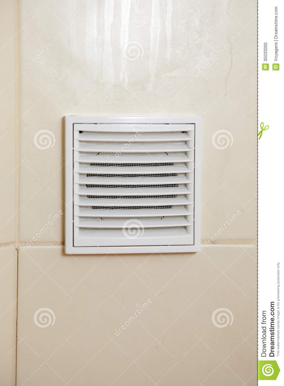 Vent White Bathroom Ventilation Grille Stock Photo.