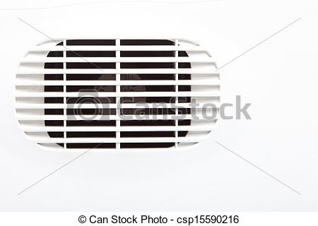 Stock Photography of plastic air vent in white wall ventilation.