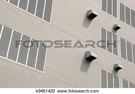 Stock Photography of Ventilation holes on white building k9461420.