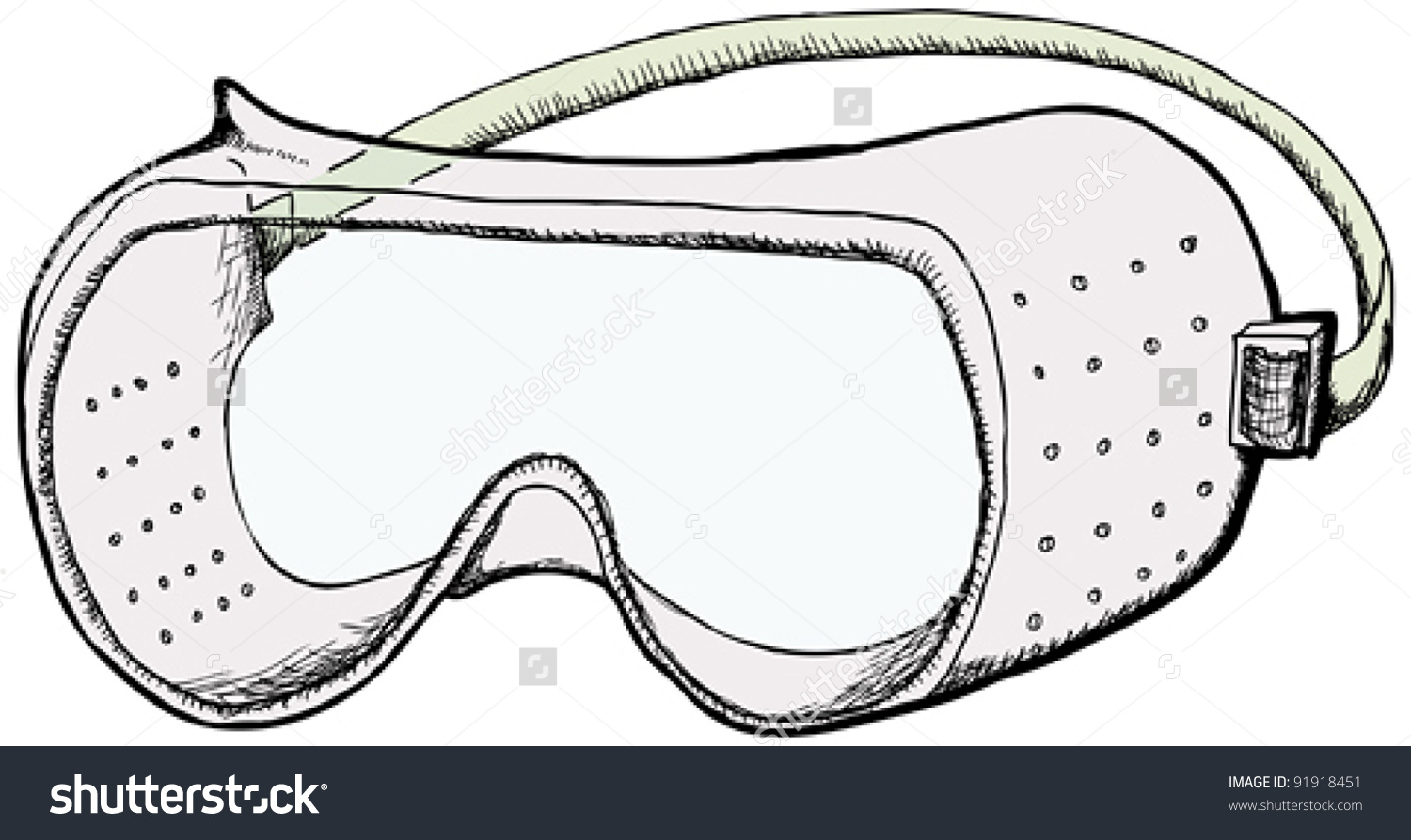 Safety Goggles Ventilation Holes Isolated Over Stock Vector.